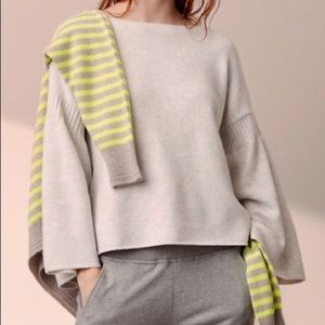 Lou & Grey Light Gray Bell Sleeve Sweater